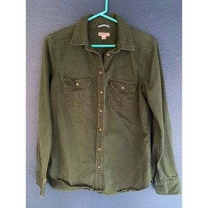 Button up Army Green Top